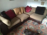 Land of Leather Modular Corner Sofa with Foot Rest and Cusions