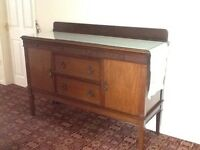 Antique Georgian Solid wood sideboard with glass top