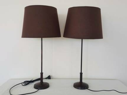 Brown bedside or table lamps