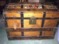 Antique wooden dome trunk