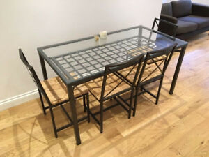 LIKE NEW - IKEA Granas Glass Top Dining Set + 6 Chairs