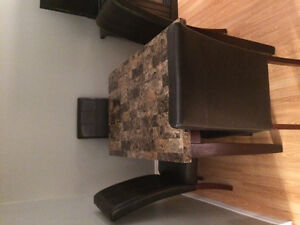 Kitchen table with 4 leather chairs