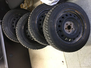 205/55 R16, 4 ARCTIC WINTER tires with rims, 9/32