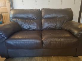 Two Piece Italian Leather Brown Sofa