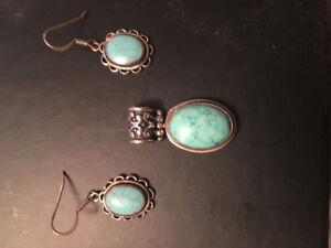Turquoise sterling silver pendant and earrings