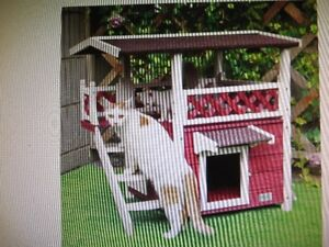 Petsfit Wooden Cat House Condo Red New in Box