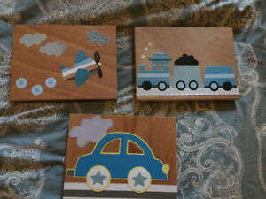 3 wooden baby room decor - train, airplane, car