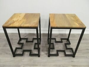 Black Finish Iron and Wood End Table
