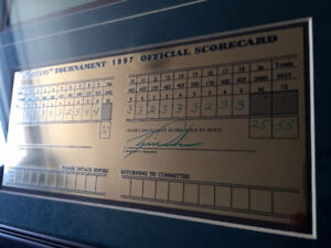 Tiger Woods Signed And Filled Out Masters Scorecard