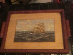 Small Nautical Wood and Glass Serving Tray