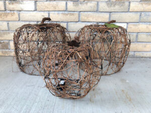 Decorative Pumpkins: Vine wrapped with battery powered LED light