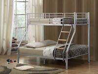 BRAND NEW JOY TRIPLE SLEEPER METAL BUNK BED FRAME SINGLE DOUBLE TRIO BUNKBED WITH MATTRESSES