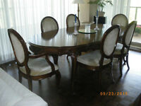 Dining Table chairs and cabinet