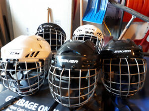 6 Hockey Helmets all gently used and almost new. $25 per helmet.