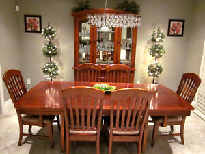 Gorgeous Dining Table with 6 chairs seats 12 people with Hutch