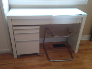 Ikea Desk, drawer unit on caster and transparent chair deal