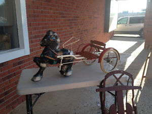 Antique horse and buggy pedal car