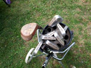 Assorted Golf Clubs and Bag Cart