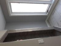 Window , door installations interior finish work .