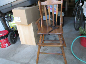 Old Wooden High Chair Colonial Style