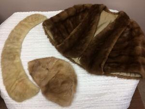 Vintage Fur Cape; Vintage Fur Hat; Vintage Fur Collar.