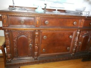 Antique burled oak sideboard and hutch 400 each OBO