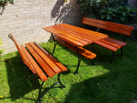 6 Seater Cast Iron Garden and Patio Furniture Set, Benches and Table