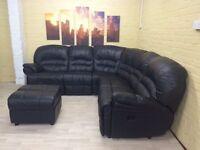 Black Double Reclining Leather Corner Sofa