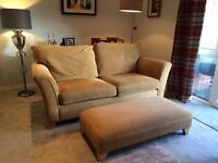 3 seater settee, chair and large foot stool