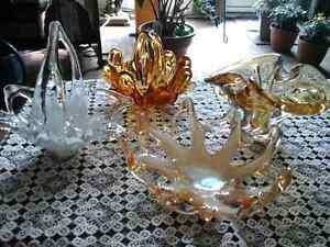 4 pc. Set of beautiful hand blown glass pieces. Unique.