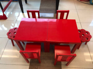 Childrens Red table and chairs