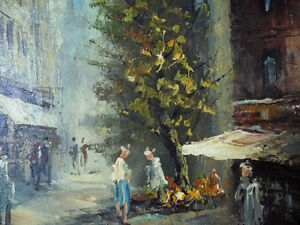 "Old Paris Street Scene by Caroline Burnett ""Corner Shop"" 1950's Stratford Kitchener Area image 4"