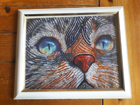 Cat mosaic completed diamond Painting