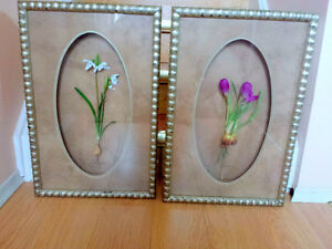 """Pictures, 2 Pieces, 3D Flowers, 14""""x22"""", Handmade"""