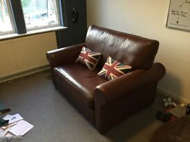 Custom Made Love Seat Sofa, High quality Brown Leather, Solid Wood Frame