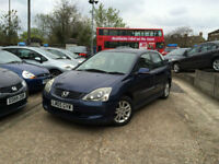 2005 05 Honda Civic 1.6i VTEC Executive,AUTOMATIC,BLACK LEATHER,5 DOORS,66,000 M
