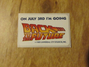 BACK TO THE FUTURE Vintage Sticker July 1985 Universal Movie Fox