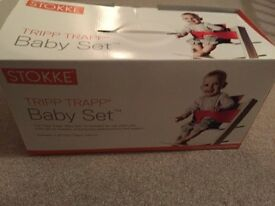 Stokke Trip Trap RED Babyset, CREAM Harness & PRINTED Cover