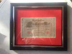 "Beautiful 8"" x 10"" Framed Old 1910 1000 Reichs Bank Note"