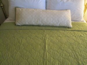 Queen sz. Celery green Quilt with decorative pillows
