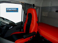 TRUCK SEAT COVERS VOLVO FH4 black/&red ECO LEATHER SEAT COVERS