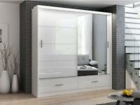 QUALITY GUARANTEED - BRAND NEW 2 DOOR HIGH GLOSS WARDROBE WITH MIRROR ,LED LIGHT AND DRAWERS