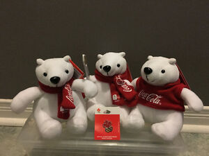 Set of 3 coca-cola 2010 olympic plush bears + olympic pin