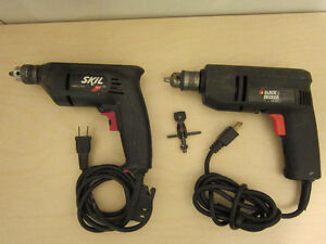 One 110 Volt corded drill.