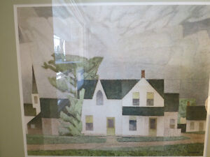 A LTD EDITION PRINT BY A. J. CASSON GROUP OF SEVEN VILLAGE HOUSE