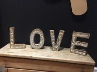 Large wood wooden love letters wedding prop sign Christmas decoration