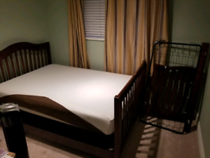 Free double size bed, mattress, bixsoring and crib conversion
