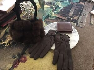 New Leather Wallet ,Leather Gloves, Pashmina & Fur purse for $40