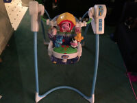 Battery operated interactive baby swing