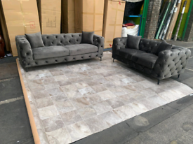 Grey Velvet Chesterfield 3&2 seater sofa set New free local delivery